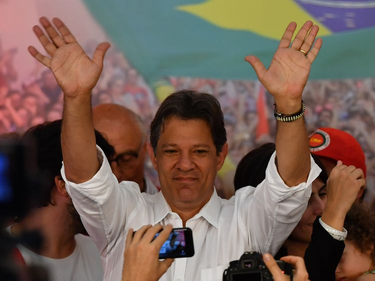 Fernando Haddad waved to supporters as official counts came in