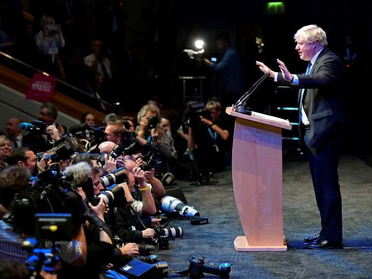 Boris Johnson addresses delegates at a Conservative Home fringe meeting