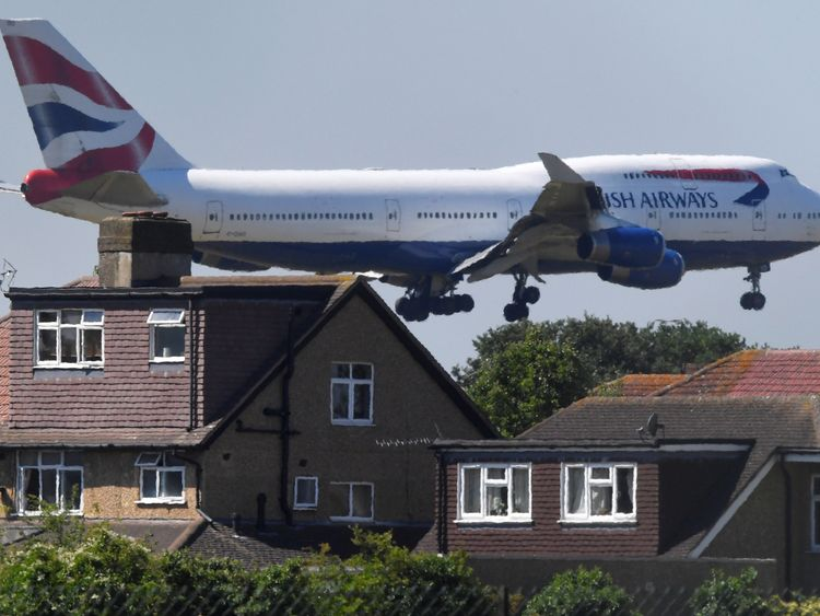 A British Airways Boeing 747 comes in to land at Heathrow airport