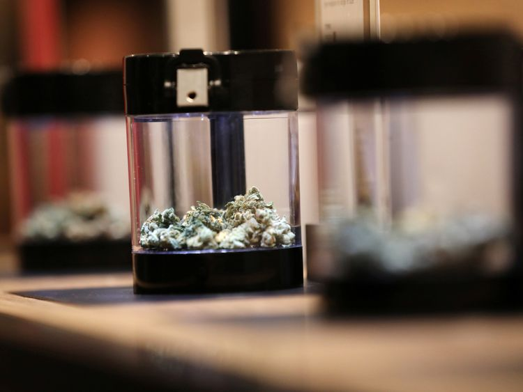 Cannabis on display at a Tweed retail store after legal recreational marijuana went on sale in St John's, Newfoundland and Labrador, Canada