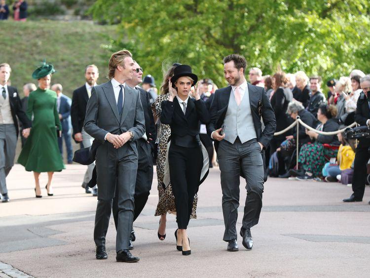 Cara Delevingne arriving at Eugenie's royal wedding