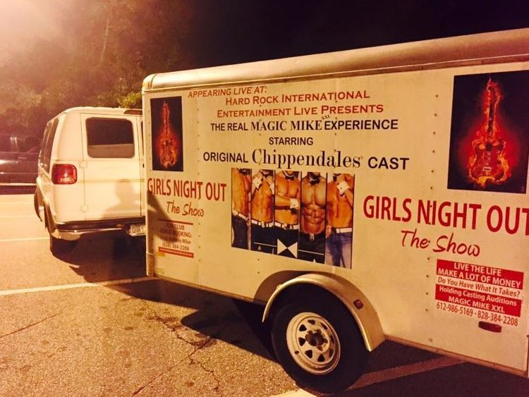 On his LinkedIn, Sayoc said he worked in the male stripper industry. His van is pictured alongside this advert. Pic: Cesar Sayoc