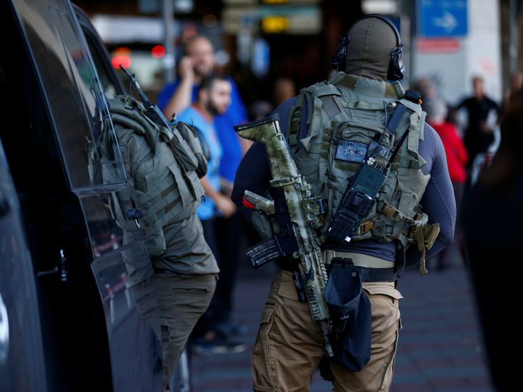 German special police officers near the main train station in Cologne Germany