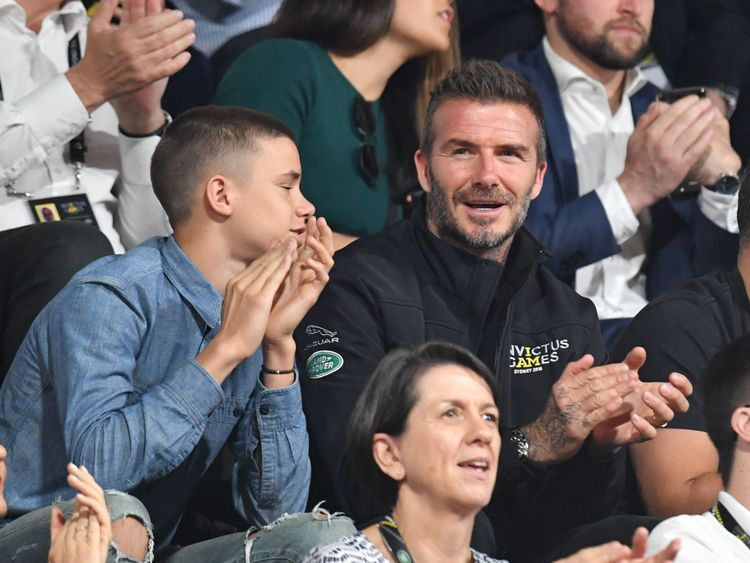 David Beckham attends the Invictus Games 2018 wheelchair basketball final in Sydney