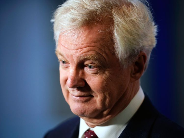 BIRMINGHAM, ENGLAND - OCTOBER 01: Former Brexit Secretary David Davis gives a media interview on day two of the annual Conservative Party Conference on October 1, 2018 in Birmingham, England. This year it is being held against a backdrop of party division on Brexit. The Prime Minister is pushing ahead with her unpopular Chequers Deal which promises a softer Brexit creating a free trade area with the EU enabling frictionless access for goods.