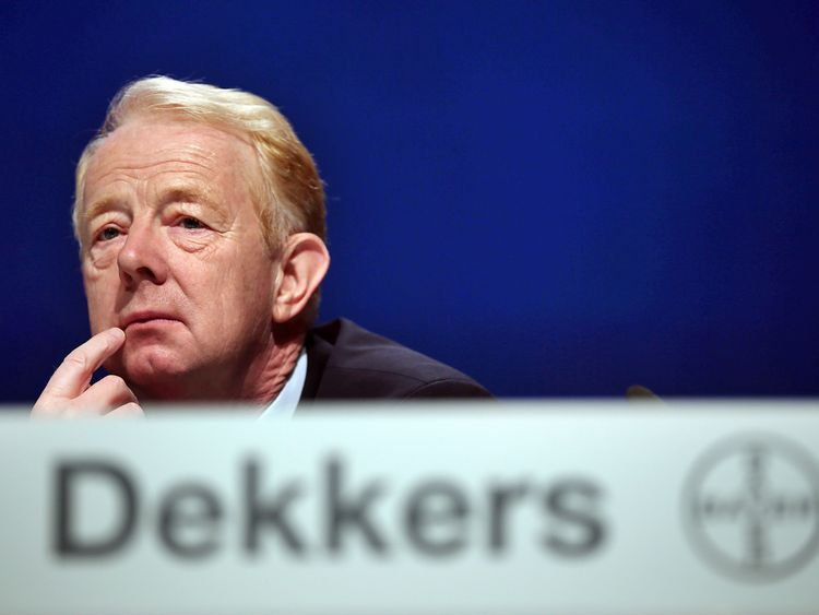 Chief executive of German chemicals and pharmaceuticals giant Bayer Marijn Dekkers attends the annual shareholders' meeting of Bayer in Cologne, western Germany, on May 27, 2015