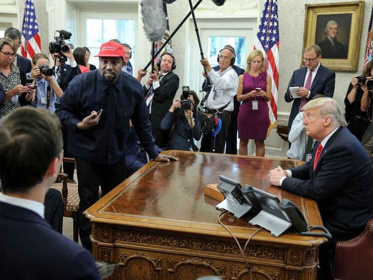 Kanye West during his meeting with President Trump