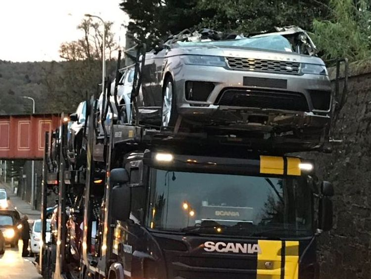 Luxury Cars Crushed As Transporter Crashes Into Bridge
