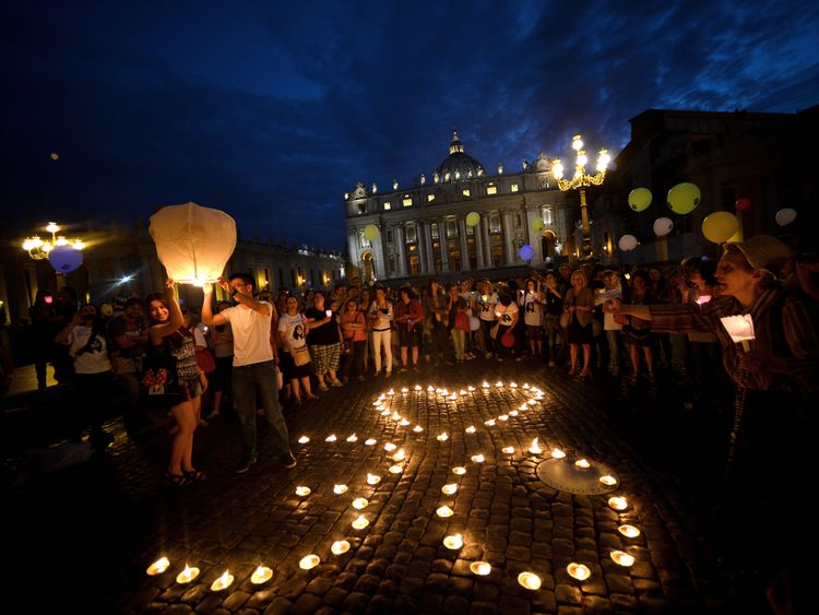 Demonstrators at the Vatican marking the 30th anniversary of Emanuela Orlandi's disappearance in 2013