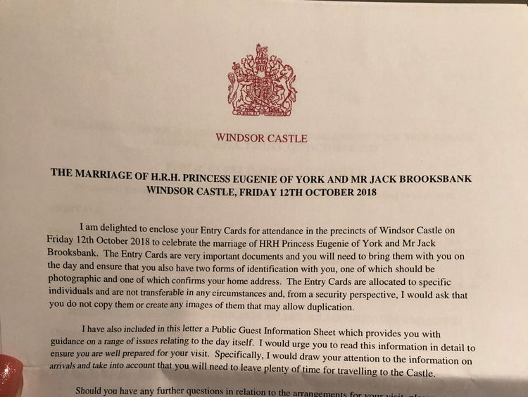 Mrs Wilson received this letter from the superintendent of Windsor Castle with her tickets