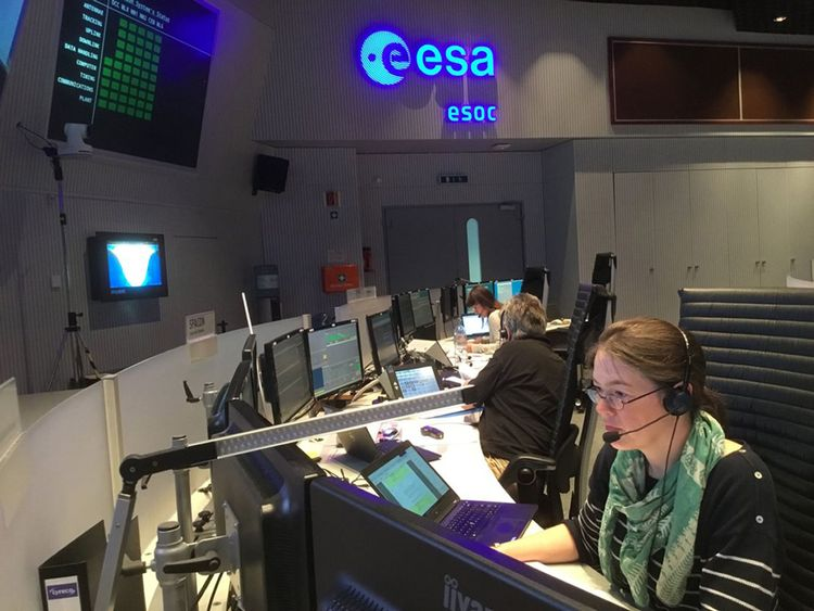 Mission controllers at the European Space Operations Centre in Darmstadt, Germany, as they prepare for the BepiColombo launch