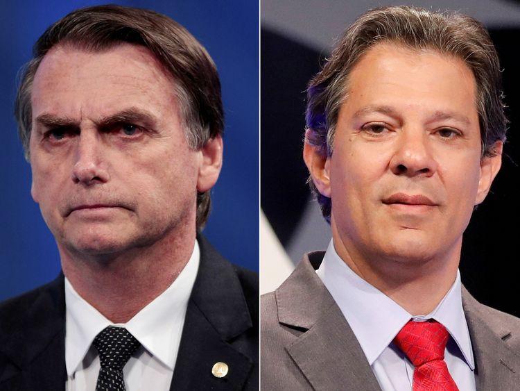 Jair Bolsonaro (L) outperformed Fernando Haddad in the first round
