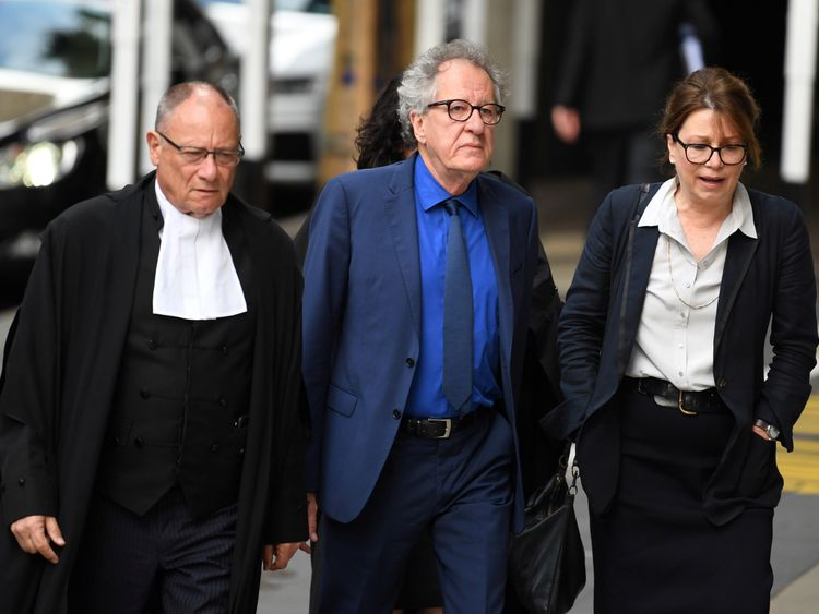 Australian actor Geoffrey Rush arrives at the Federal Court in Sydney for defamation hearing