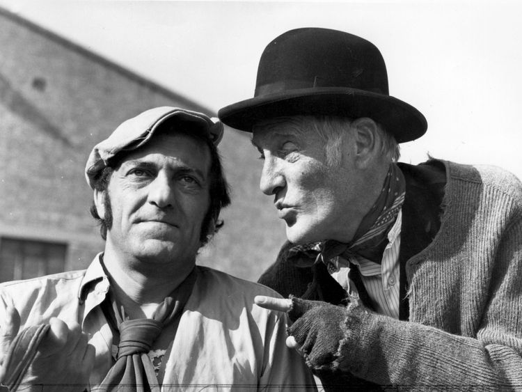 Harry H Corbett (1925 - 1982) and Wilfrid Brambell (1912 - 1985), stars of the television series 'Steptoe and Son' in 1974