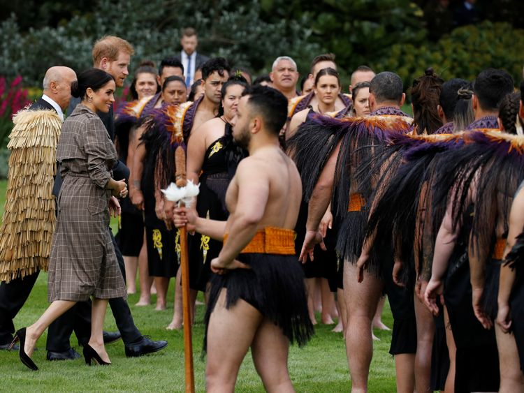 Britain's Prince Harry and Meghan Duchess of Sussex attend a welcome ceremony at Government House in Wellington New Zealand