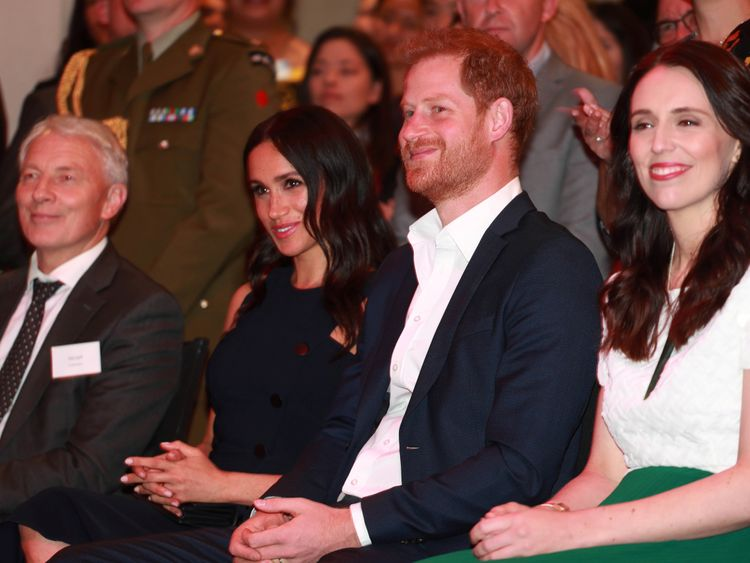 The Duke and Duchess with New Zealand's prime minister at a reception at the War Memorial Museum