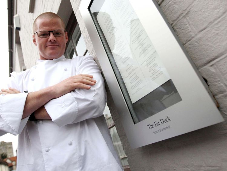 Heston Blumenthal pictured outside his three Michelin star Fat Duck