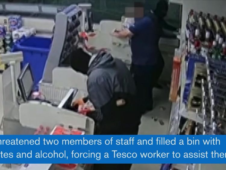 Owen Smith and his accomplice threatened staff as they stole cigarettes and alcohol