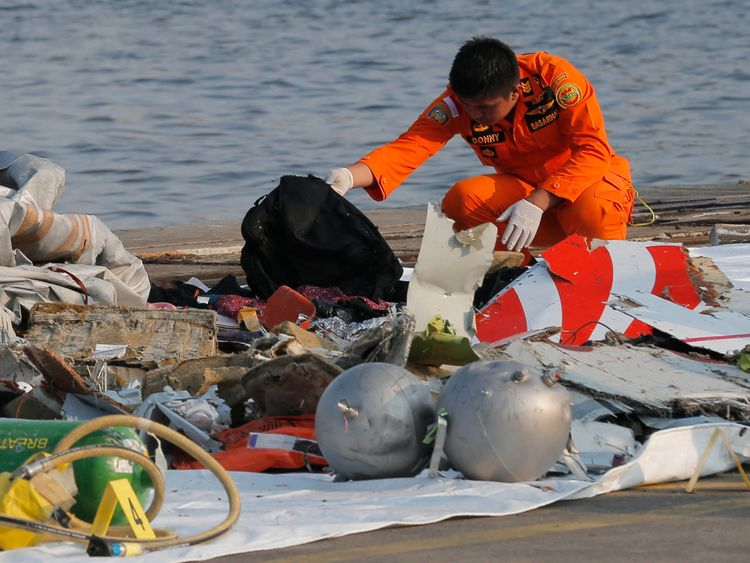A member of Indonesian Search and Rescue Agency (BASARNAS) inspects debris believed to be from Lion Air passenger jet that crashed off Java Island at Tanjung Priok Port in Jakarta, Indonesia Monday, Oct. 29, 2018. A Lion Air flight crashed into the sea just minutes after taking off from Indonesia's capital on Monday in a blow to the country's aviation safety record after the lifting of bans on its airlines by the European Union and U.S. (AP Photo/Tatan Syufla