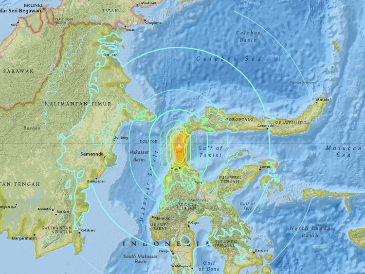 Donggala, which is home to around 300,000 people, was near the quake's epicentre. Pic: US Geological Survey