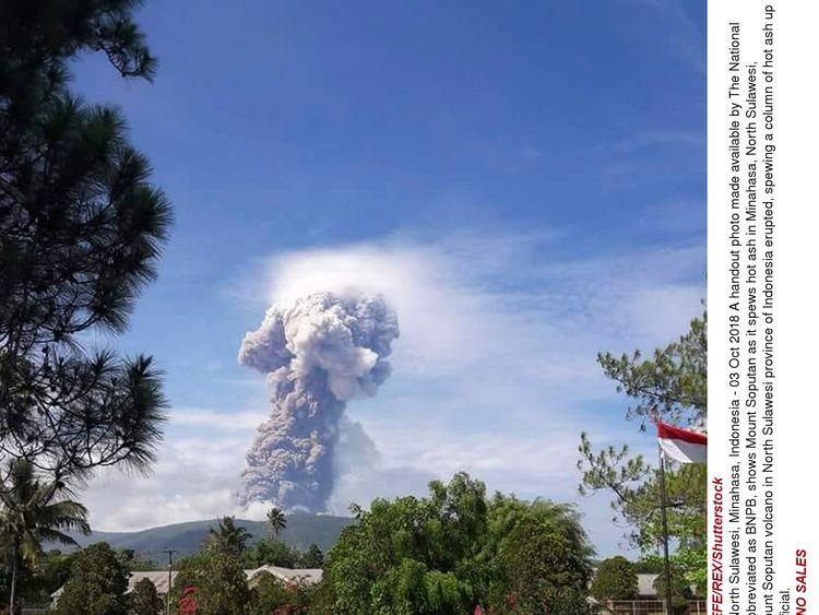 Mount Soputan volcanic eruption in North Sulawesi, Minahasa, Indonesia