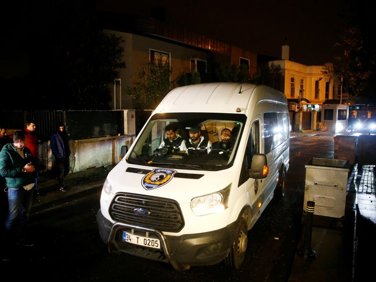 Turkish forensics experts left the Saudi consul general's house early on Thursday morning
