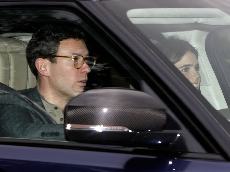 Jack Brooksbank and Princess Eugenie were seen driving to their wedding rehearsal