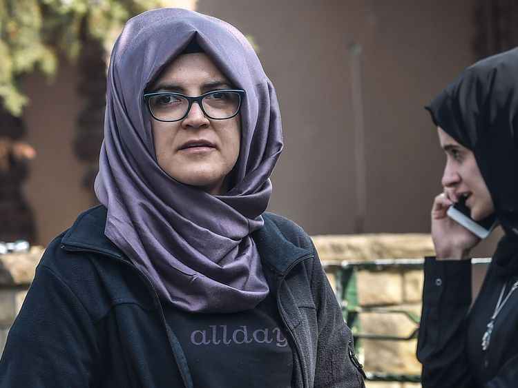 Mr Khashoggi's fiancee Hatice, pictured waiting in front of the consulate, has not seen him since he entered the building