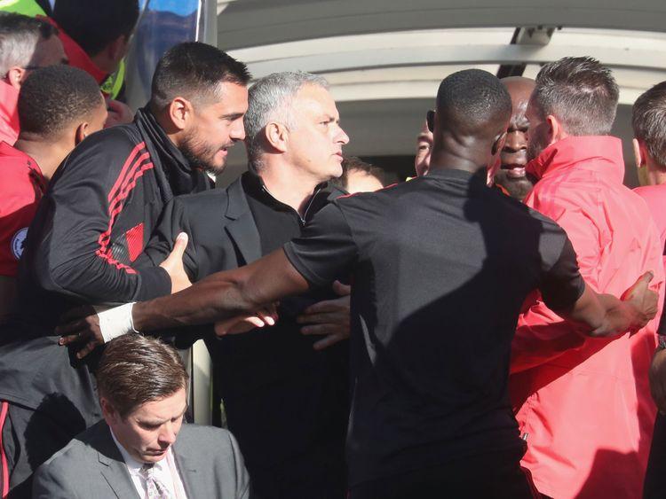 Mourinho was involved in a confrontation after Ross Barkley's equaliser