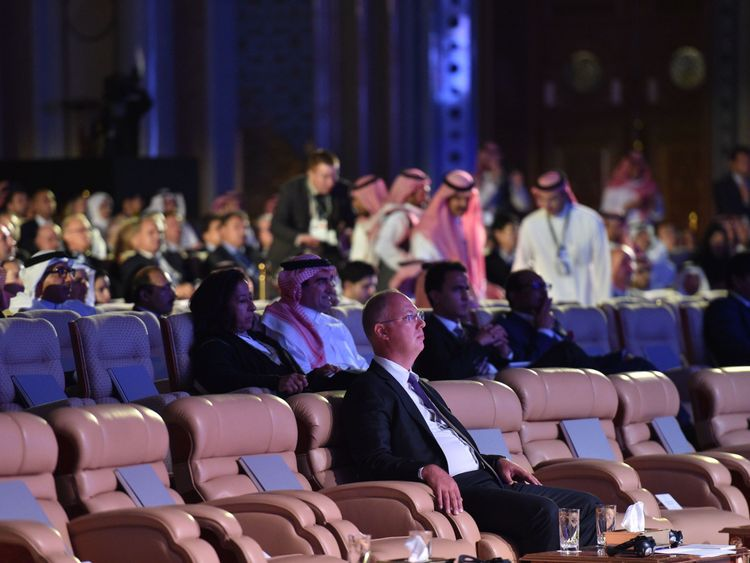 Kirill Dmitriev (C) CEO of Rusian Direct Investment Fund attends the three-day Future Investment Initiative (FII) in the Saudi capital Riyadh on October 23, 2018. - The summit, nicknamed 'Davos in the desert', has been overshadowed by growing global outrage over the murder of a Saudi journalist inside the kingdom's consulate in Istanbul