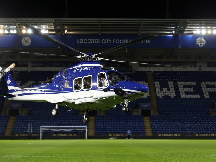 The helicopter of Leicester City chairman Vichai Srivaddhanaprabha. File pic