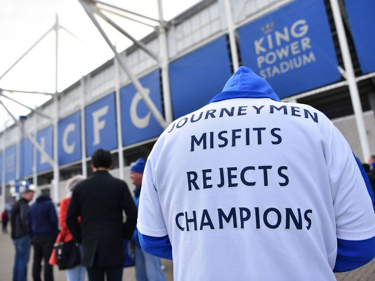 Leicester City fans gather at the King Power Stadium after a helicopter crash involving Thai owner Vichai Srivaddhanaprabha