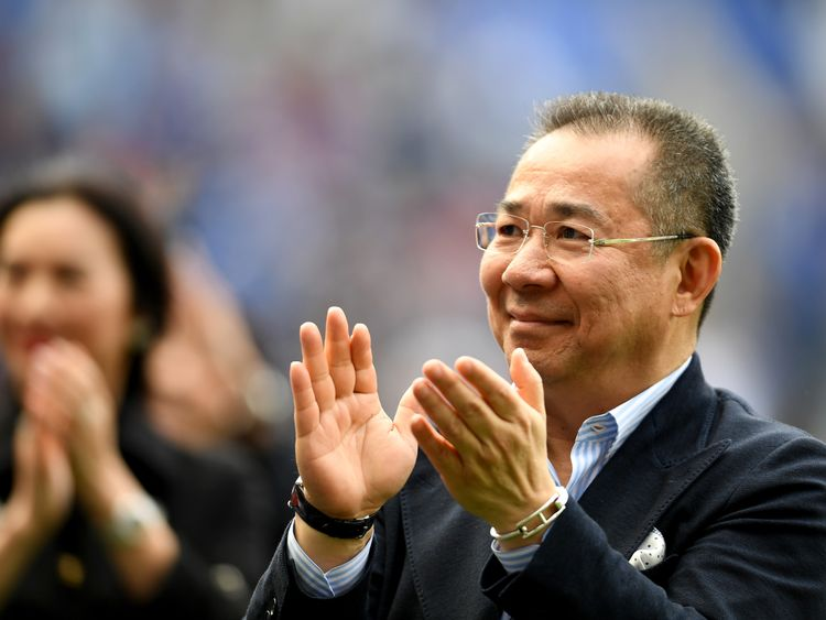 Vichai Srivaddhanaprabha during the Premier League match between Leicester City and AFC Bournemouth at The King Power on 21 May 2017