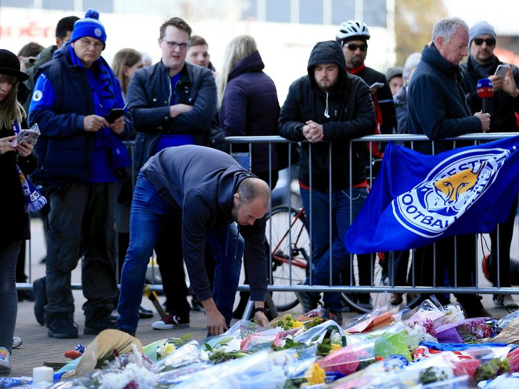 Foxes fans have gathered outside the King Power Stadium