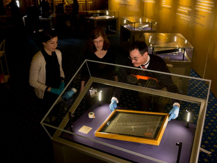 The document is kept in a glass box in Salisbury Cathedral. File Pic
