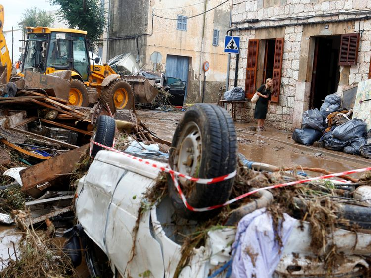 Heavy rain and flash floods hit Sant Llorenc de Cardassar on the island of Mallorca Spain
