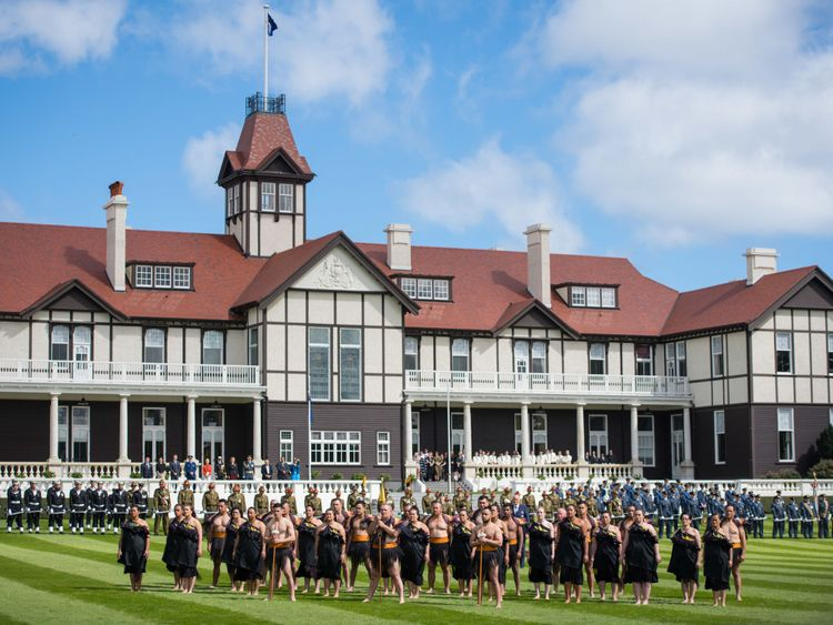 Maori warriors at an official welcome ceremony at Government House in Wellington, on the first day of the royal couple's tour of New Zealand