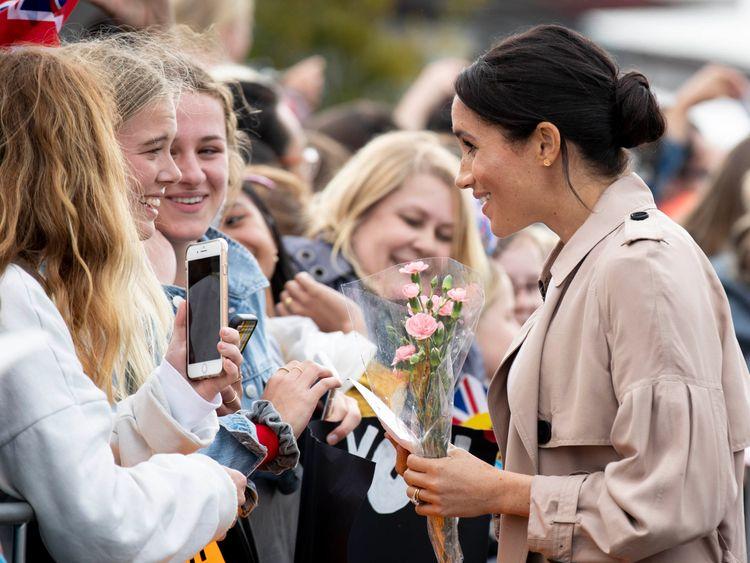 Meghan meets fans during a public walk along Auckland's Viaduct Harbour