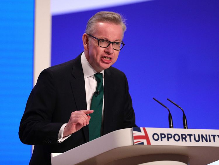Michael Gove addresses the Conservative Party conference