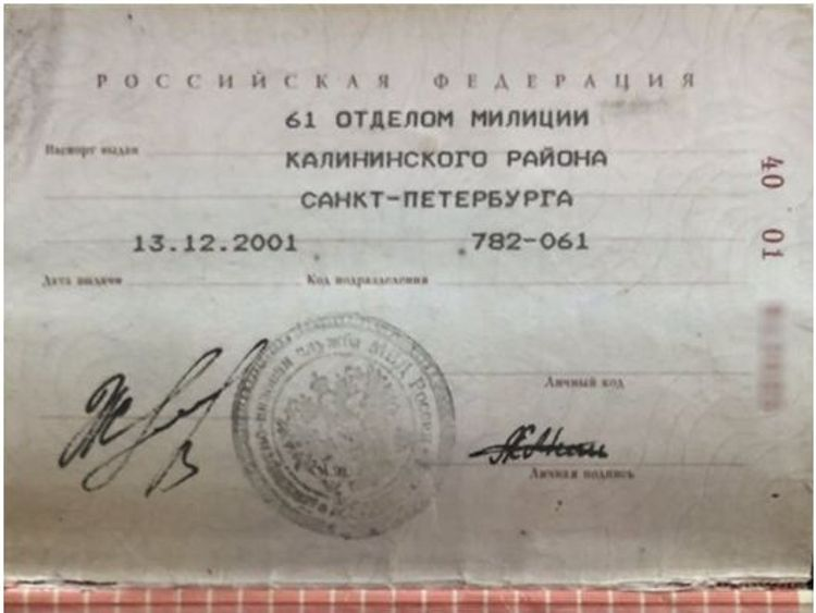 The passport of Alexander Mishkin who had been named as Alexander Petrov