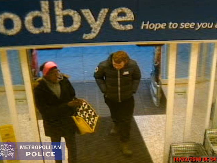 CCTV of Jesse McDonald and Naomi Hersi entering Tesco's in Ballards Lane