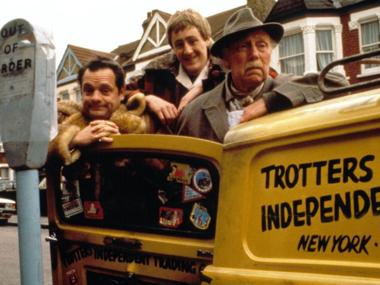 David Jason, Nicholas Lyndhurst and Lennard Pearce as Del Boy, Rodney and Grandad in Only Fools And Horses
