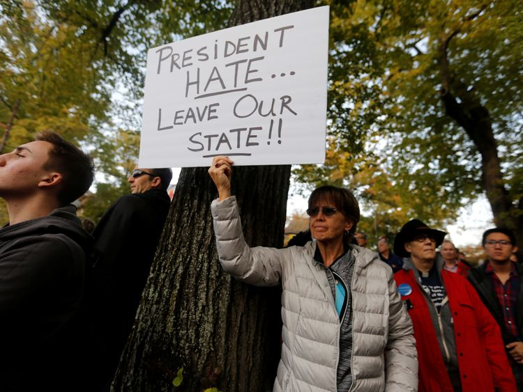 Protesters oppose Donald Trump in Pittsburgh