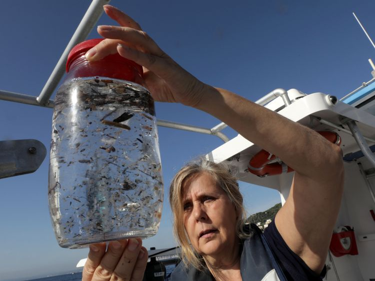 It is estimated 5% of plastic ends up in the sea, where it breaks down and gets eaten by sea life