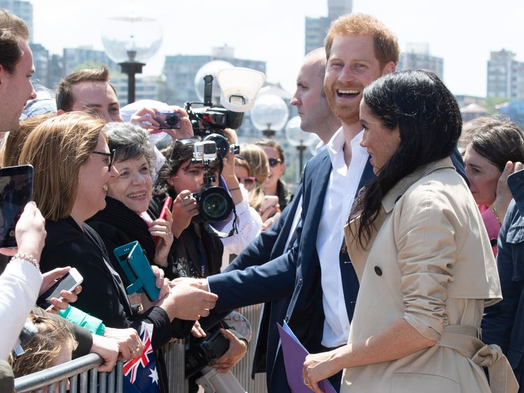 Prince Harry and Meghan outside Sydney's Opera House