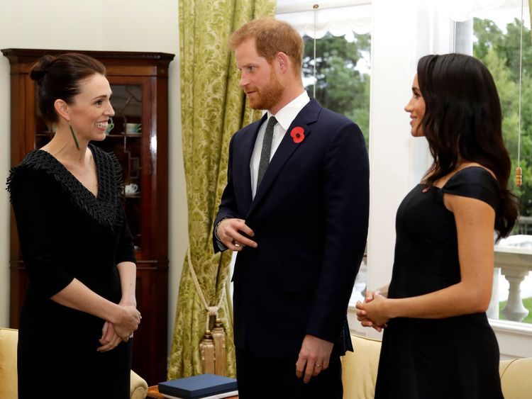 The Duke and Duchess of Sussex with New Zealand's prime minister Jacinda Ardem