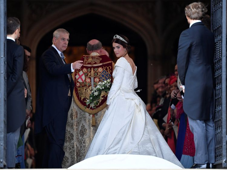 Princess Eugenie enters St George's Chapel with her father Prince Andrew, Duke of York