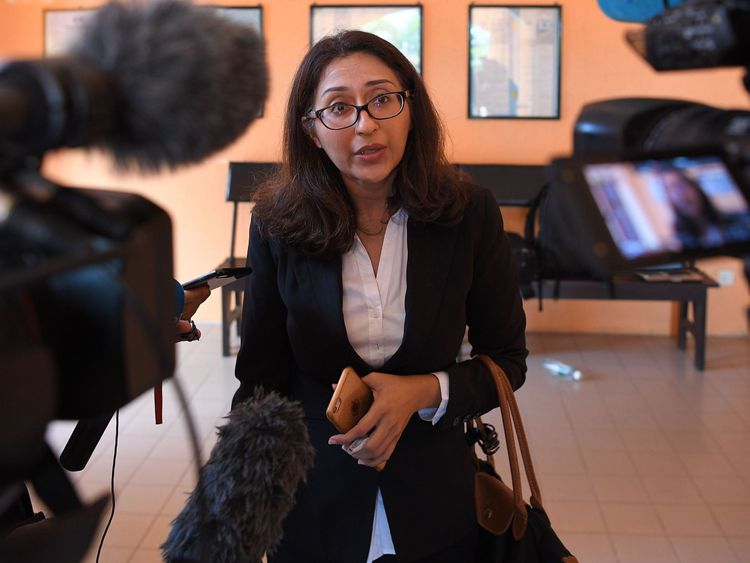 Samantha Jones's lawyer Sangeet Kaur Deo speaks to journalists