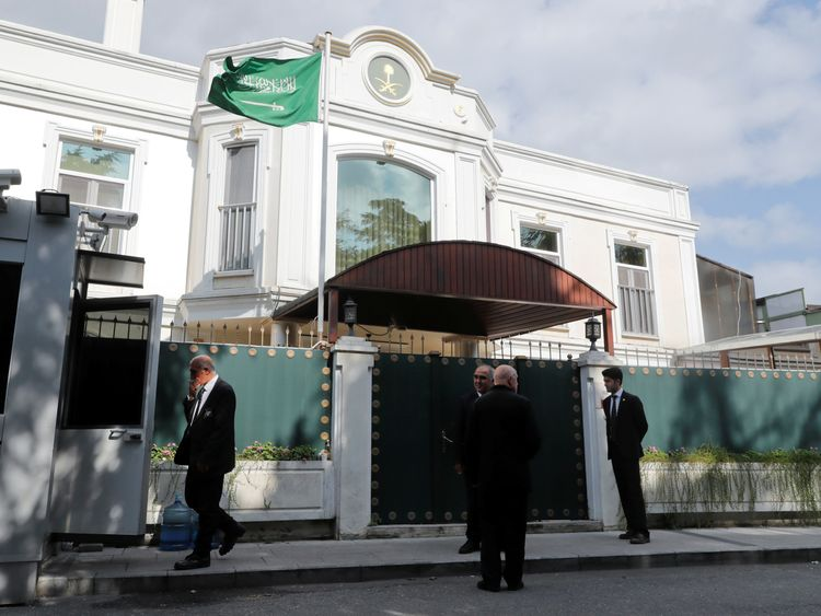 Security officers are seen in front of the residence of Consul General of Saudi Arabia Mohammad al-Otaibi in Istanbul, Turkey October 16, 2018. REUTERS/Osman Orsal
