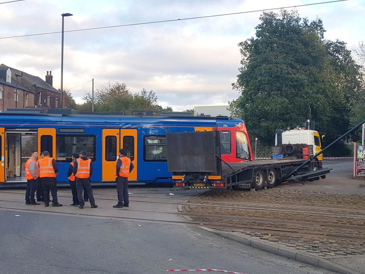 Emergency services at the scene in Staniforth Road Sheffield where a tram collided with a lorry on the Sheffield Supertram system. PRESS ASSOCIATION Photo. Picture date: Thursday October 25, 2018. The collision on Thursday afternoon happened just hours after the official opening of UK's first tram-train service was launched between Sheffield and Rotherham - a service that utilises both the Supertram system and main rail lines. See PA story RAIL Tram. Photo credit should read: Dave Higgins/PA Wir